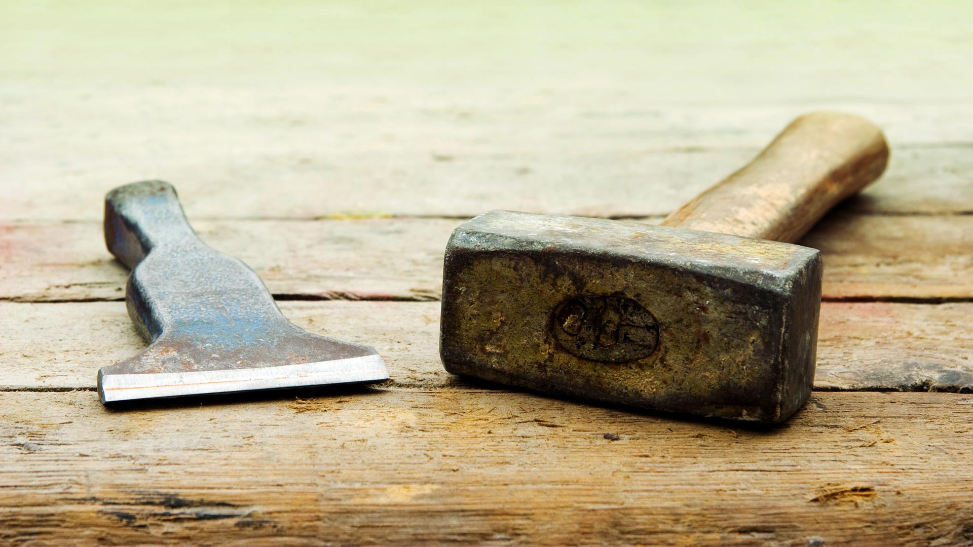 Hammer Spachtel Handwerk Holzbearbeitung Grobe