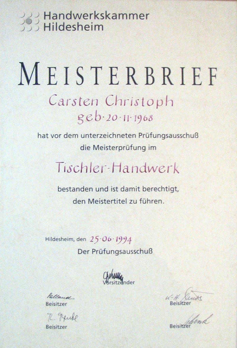Meisterbrief Christoph Tischler Tischlerei Grobe