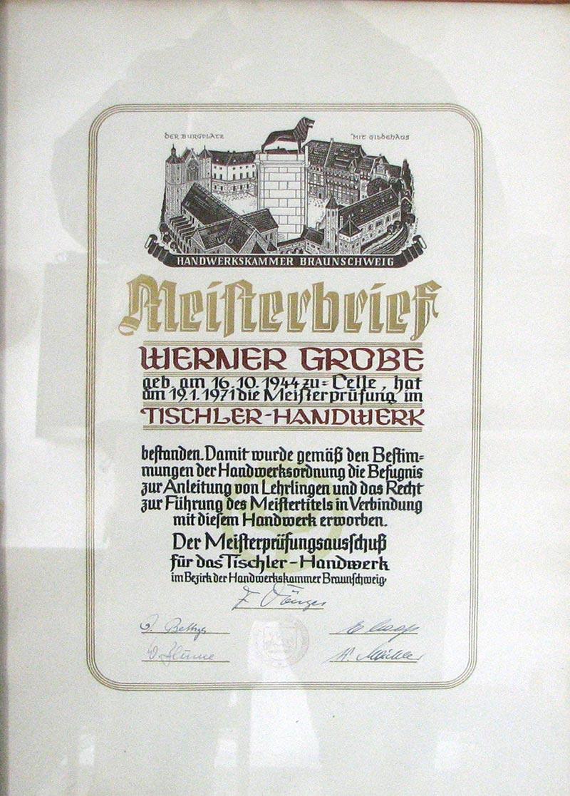 Meisterbrief Grobe Tischlerei Grobe
