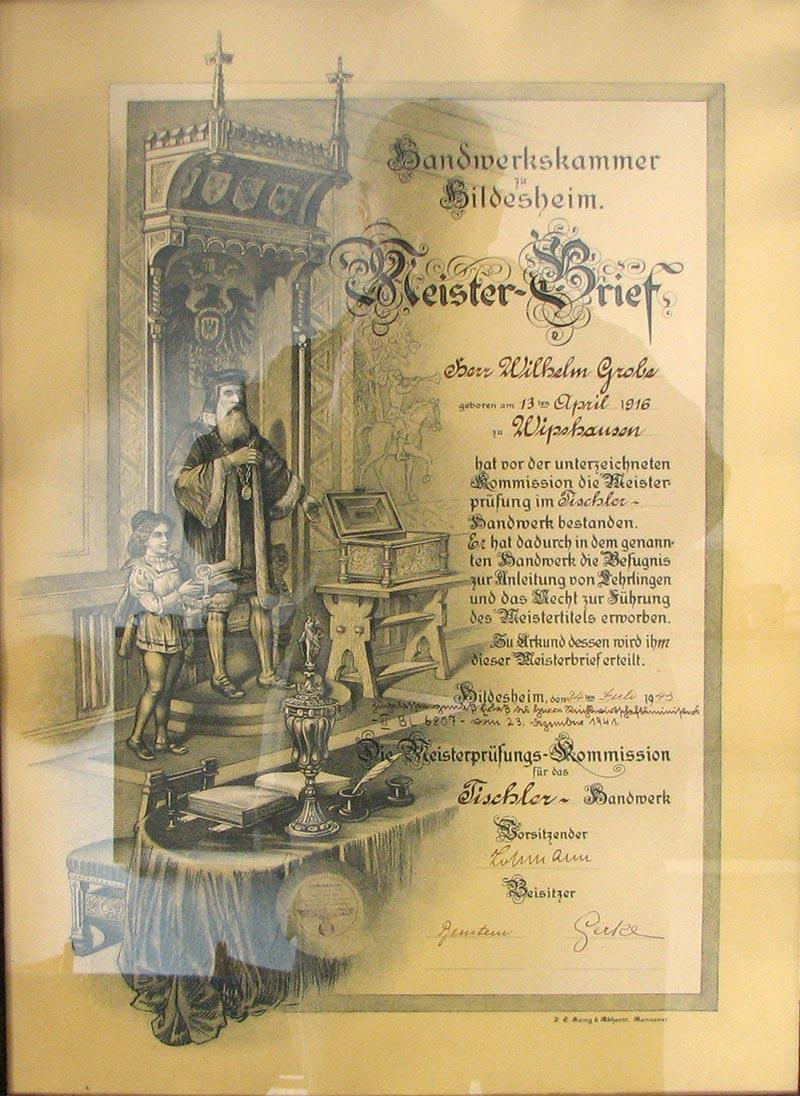 Meisterbrief Wilhelm Tischerei Grobe