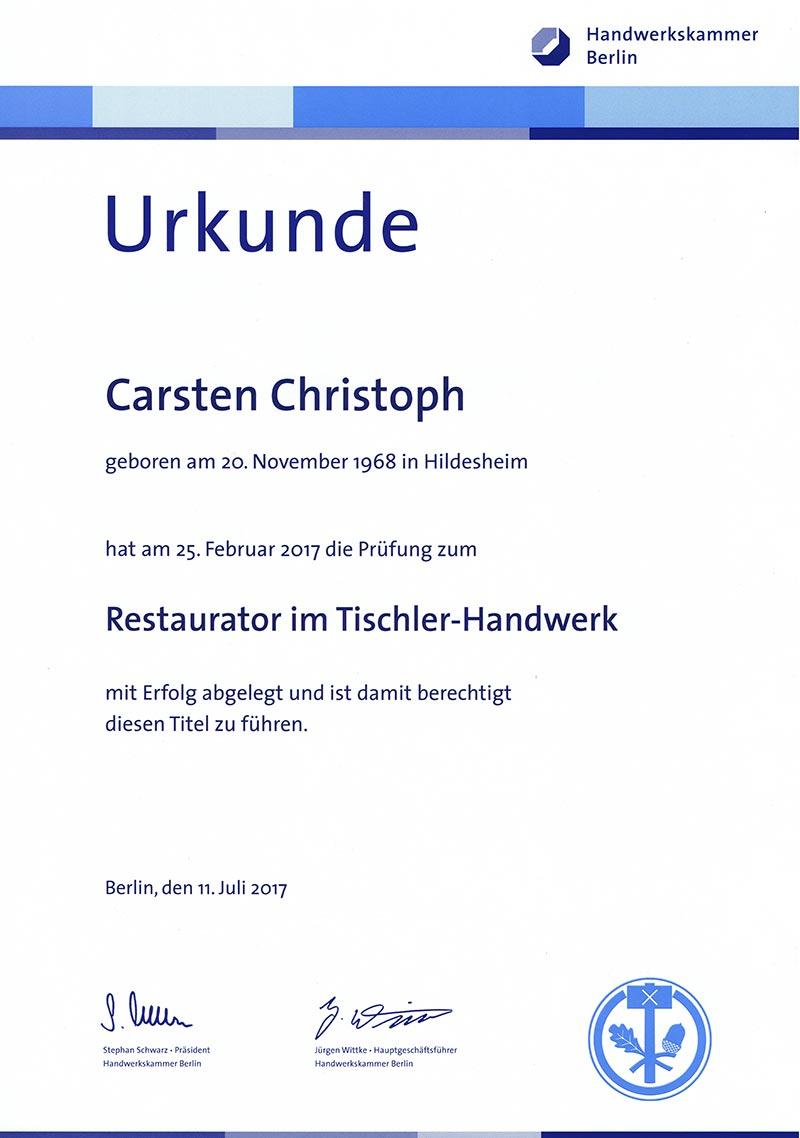 Urkunde Carsten Christoph Restauration Tischlerei Grobe